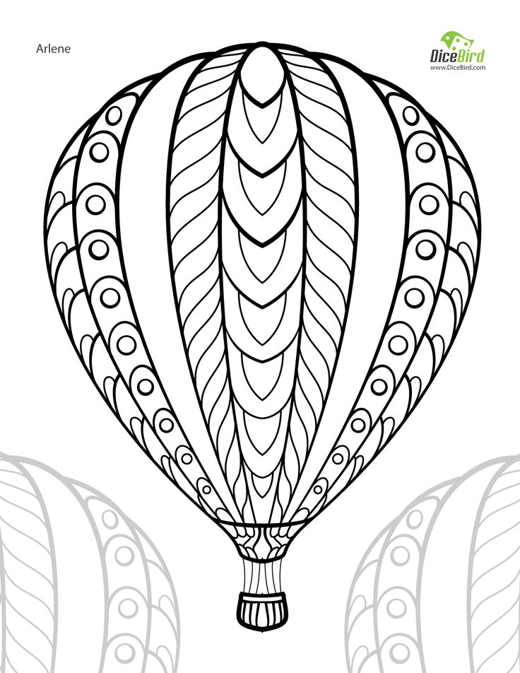 736x952 Hot Air Balloon Adult Free Printable Colouring Page Pinterest