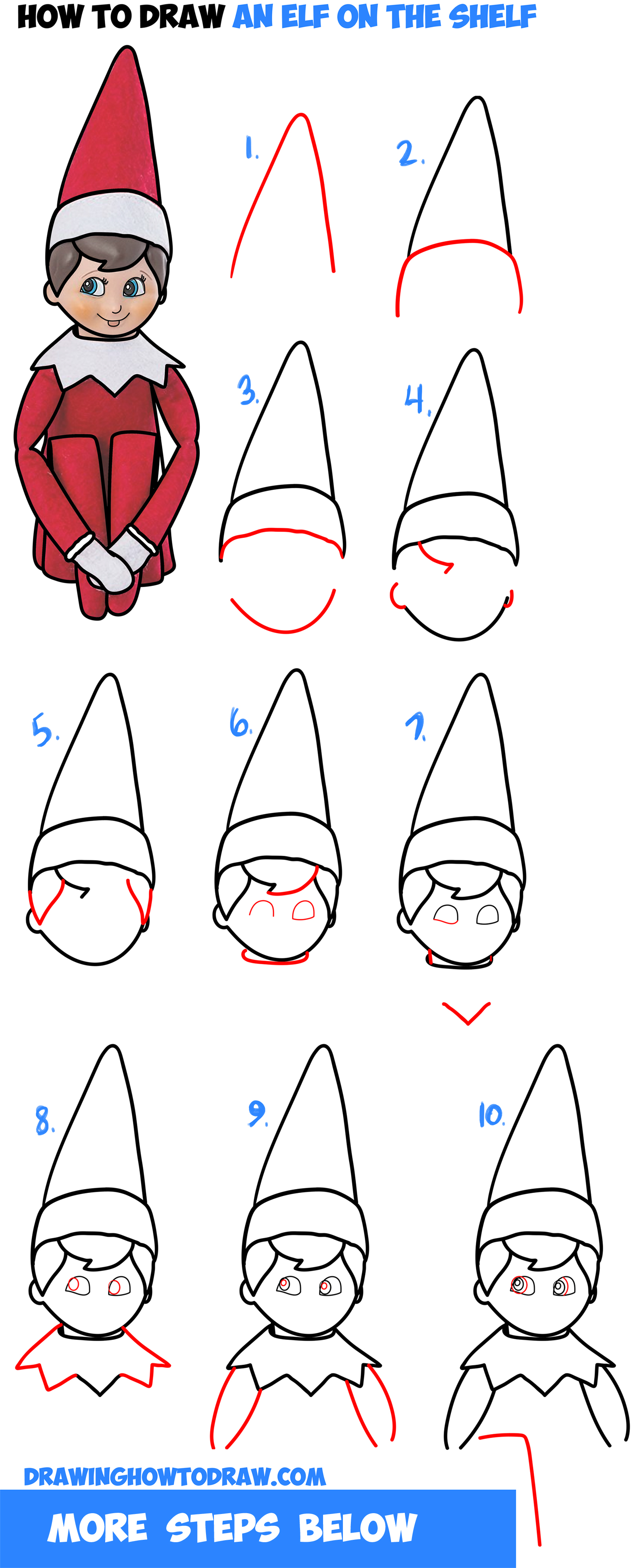 1600x3947 How To Draw The Elf On The Shelf Easy Step By Step Drawing