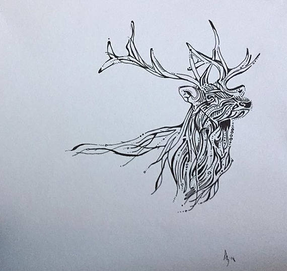 570x540 Elk Line Drawing Abstract Elk Elk Drawing Black And White