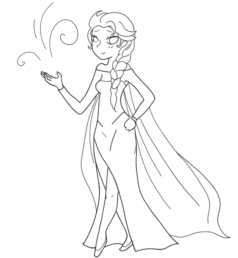 Elsa Drawing Outline