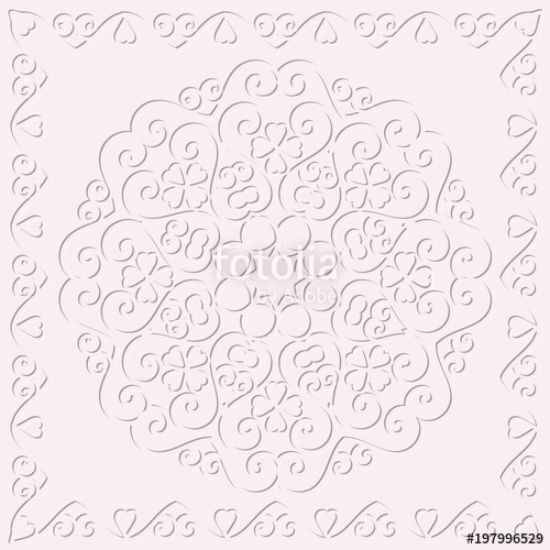 500x500 Circular Monochrome Pattern, Delicate Embossed Background Stock