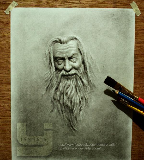 600x665 Gandalf Emboss Fanart By Leemarej