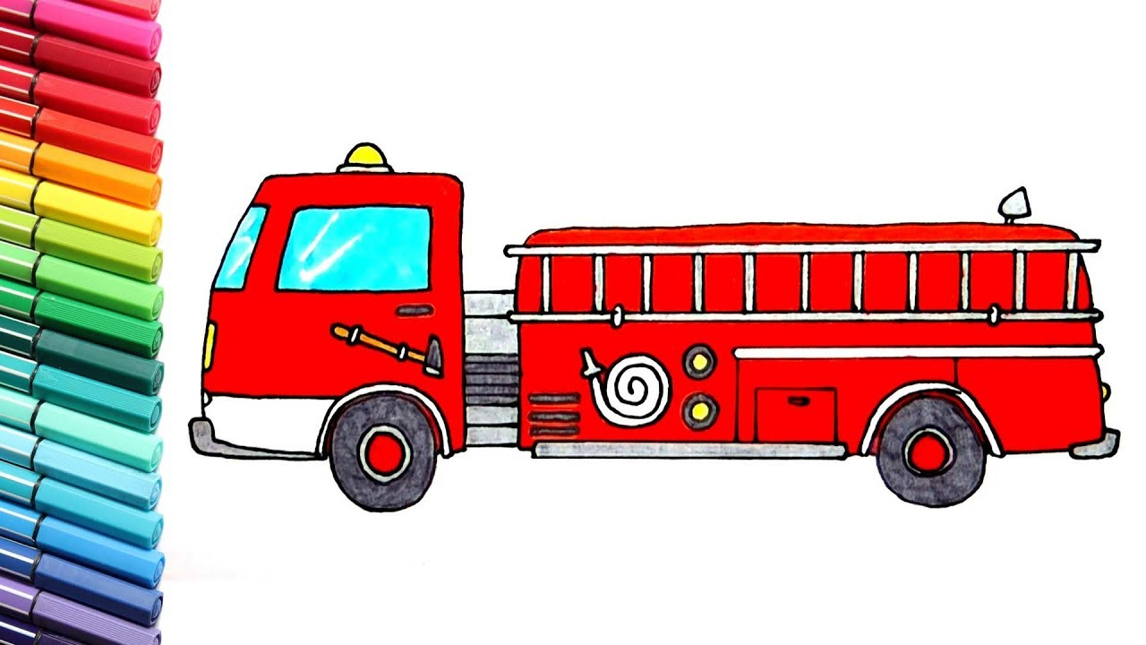 1280x720 Drawing And Coloring Fire Truck And Police Car
