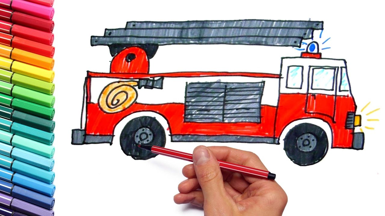 1280x720 How To Draw Fire Truck With Colored Markers