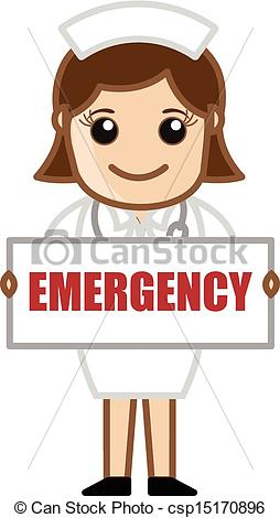 254x470 Nurse Showing Emergency Banner. Drawing Art Of Cartoon Young