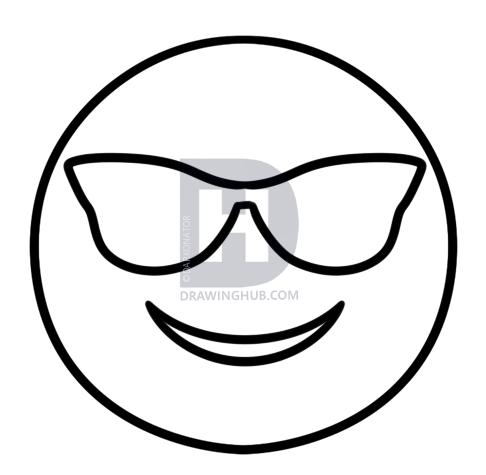 486x475 How To Draw Cool Emoji, Step By Step, Drawing Guide, By Darkonator