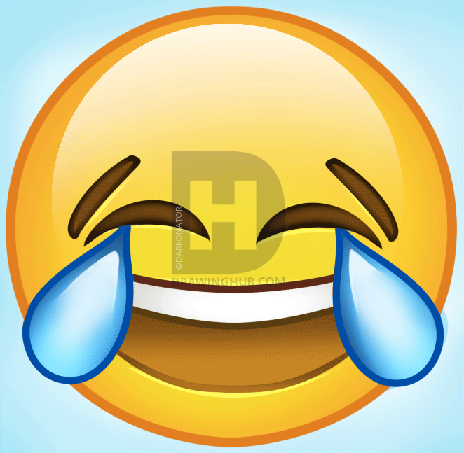 662x647 How To Draw Laughing Emoji, Step By Step, Drawing Guide, By