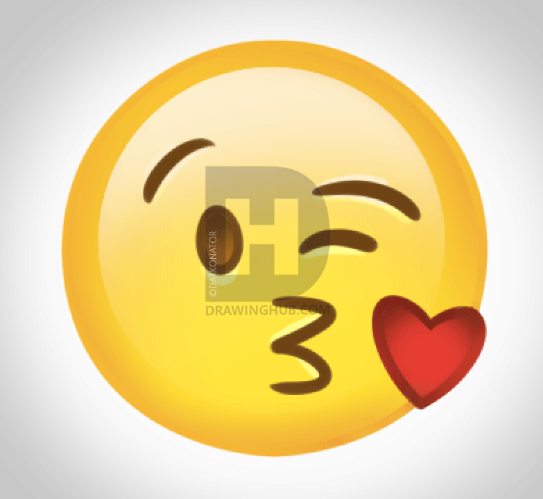 783x719 How To Draw The Kiss Emoji, Step By Step, Drawing Guide, By
