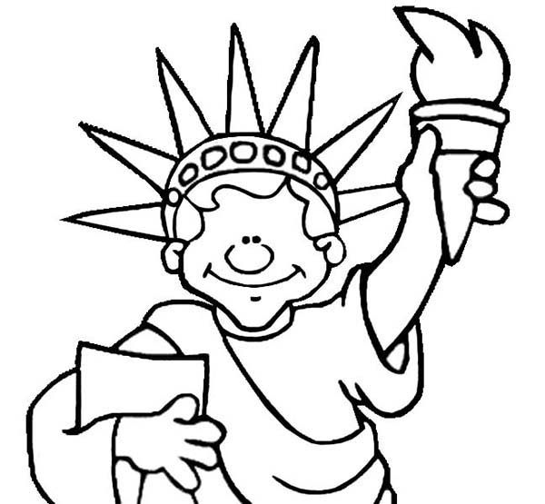 600x555 Drawn Statue Of Liberty Draw In Color