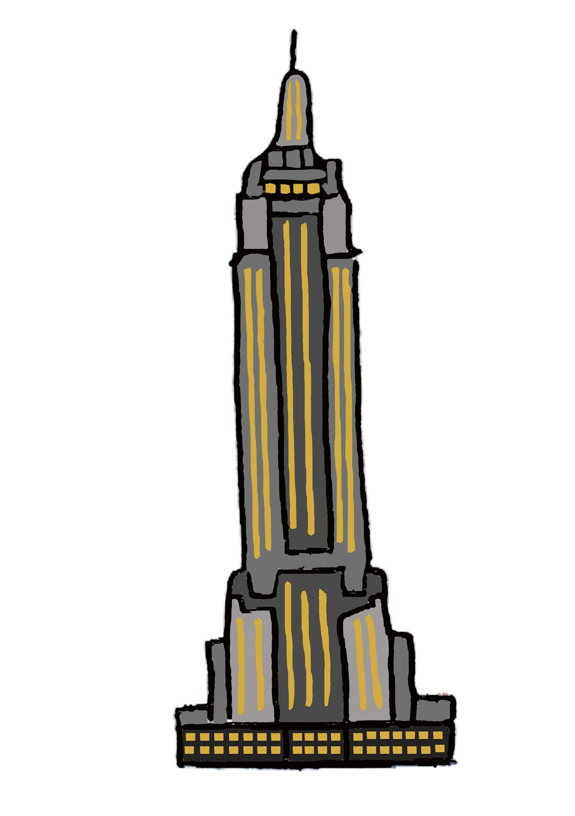 1128x1600 Collection Of Empire State Building Cartoon Drawing High