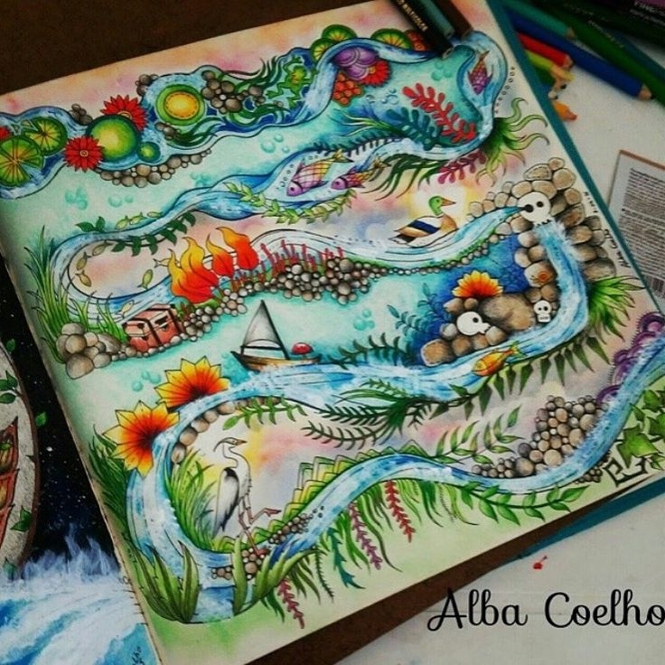 Coloring Book Completed Pages 736x736 141 Best Enchanted Forest Johanna Basford Images On Pinterest