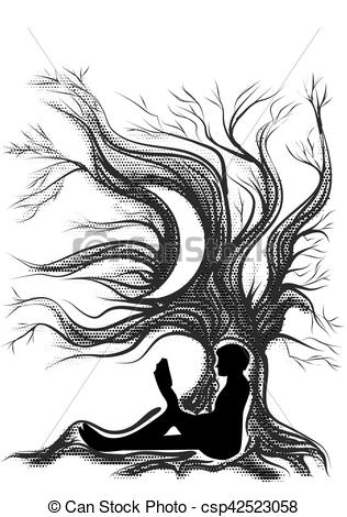 316x470 Reader Escape. Man With Book In Tree Clipart Vector
