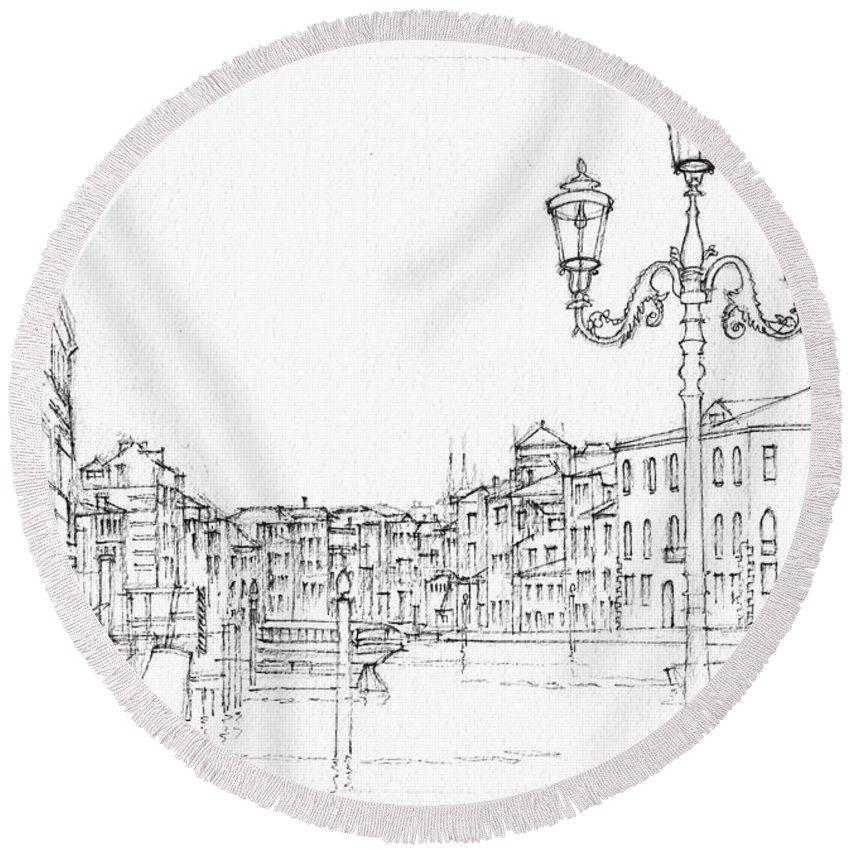 850x850 Venice Evening Sketch Round Beach Towel For Sale By Dai Wynn