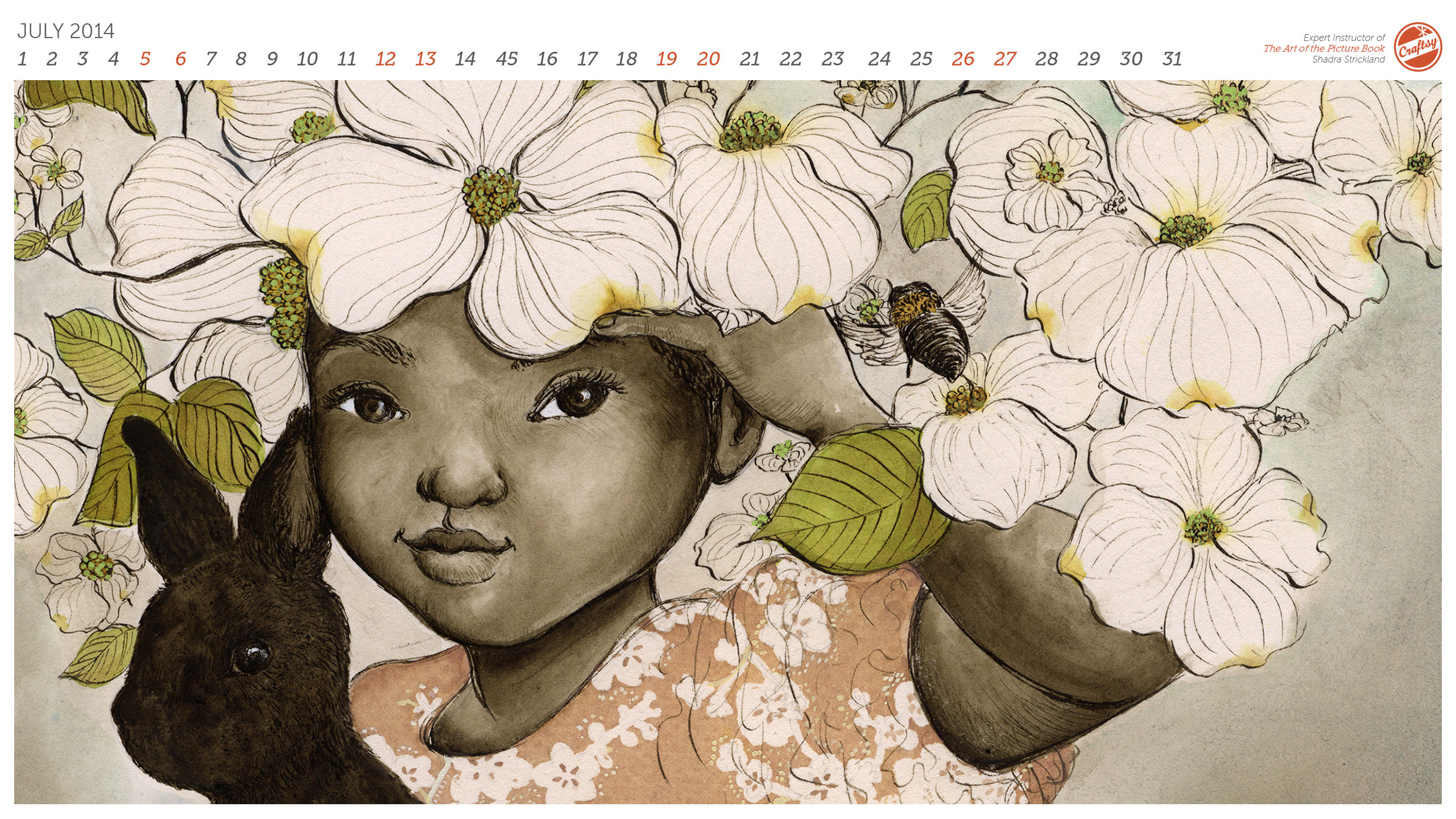 2560x1440 Free For You Downloadable Drawing Calendar Wallpapers For July!