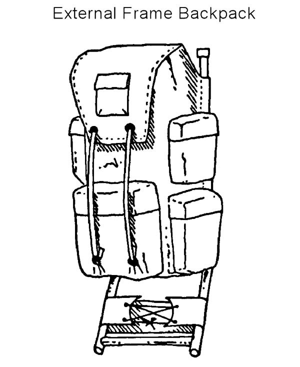 600x734 External Frame Backpack Coloring Pages Best Place To Color