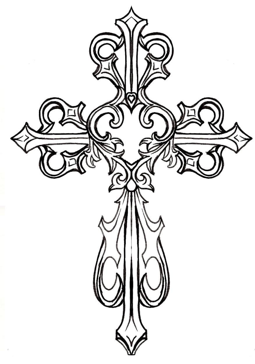 876x1253 Collection Of Fancy Cross Drawing High Quality, Free