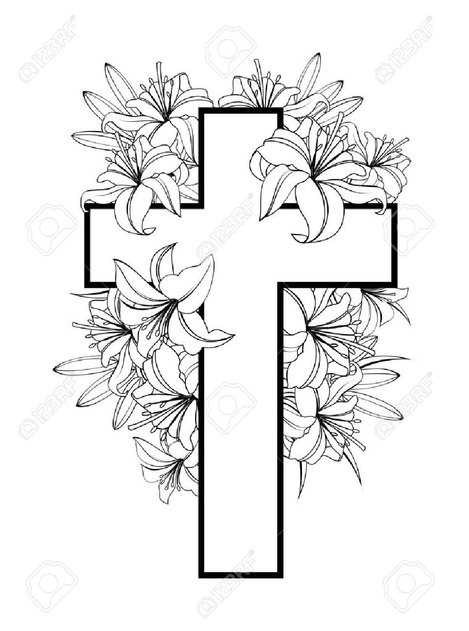 966x1300 Religious Easter Drawings Sunday Clip Art Beauteous Cross