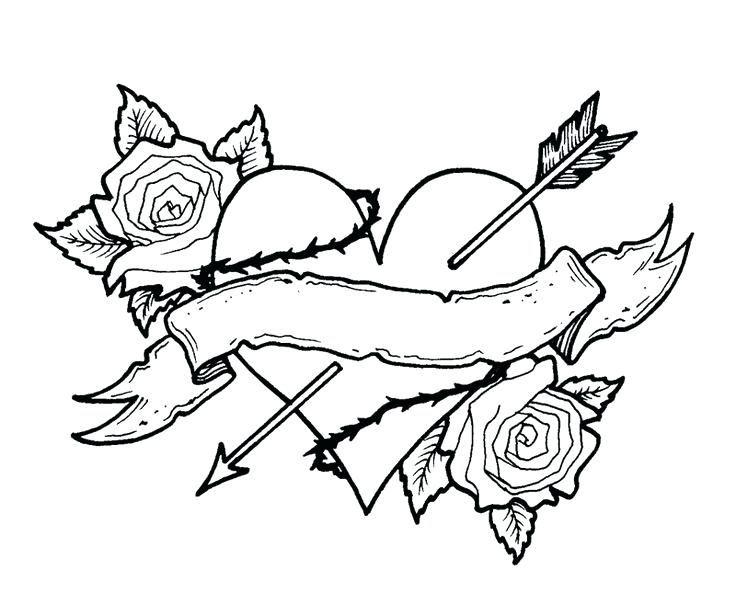 736x593 Tattoo Coloring Pages Printable Rose Tattoo Coloring Pages