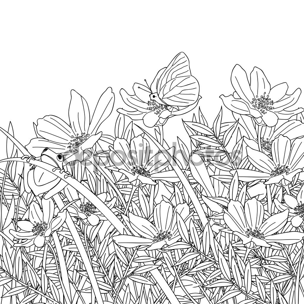 1024x1024 How To Draw A Flower Bed Fancy Flower Garden Drawing About Remodel