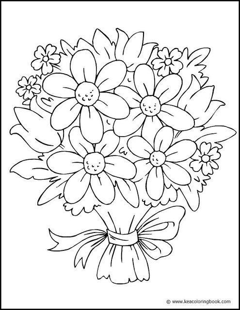 495x640 Fancy Flower Coloring Pages Flower Bouqets Digi Stamps Bouquet