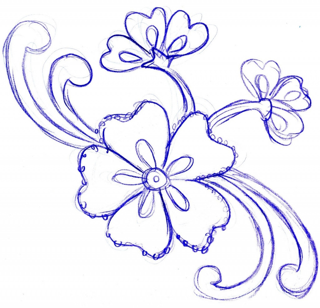 1024x986 Beautiful Pictures Of Easy Drawing Flowers Simple Flower How Fancy