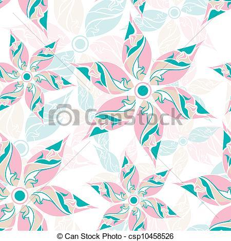450x470 Seamless Fancy Flower Background Vector Illustration
