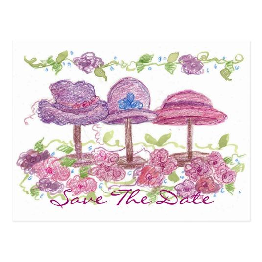535x535 Victorian Fancy Hats Flower Drawing Cards Save The Date Cards