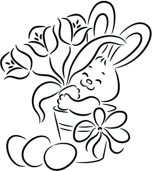 530x597 Easter Bunny Drawing Easy Cute Bunny Picking Flower Coloring Pages