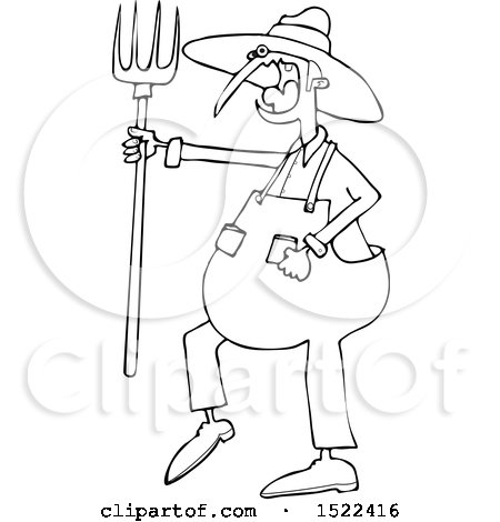450x470 Clipart Of A Cartoon Black And White Angry Yelling Male Farmer