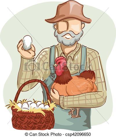 400x470 Man Farmer Chicken Basket Eggs. Illustration Of A Farmer