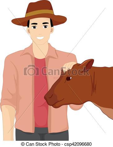 364x470 Man Farmer Livestock Show Cow. Illustration Of Farmer In