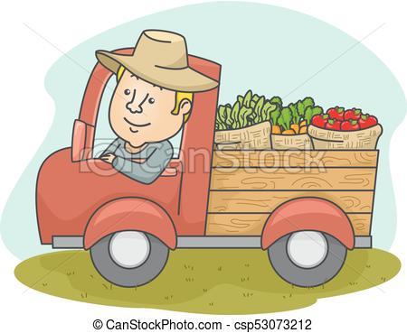 450x369 Man Farmer Produce Truck. Illustration Of A Middle Aged Farmer