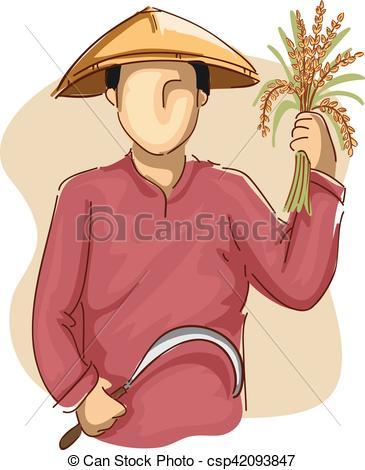 365x470 Man Farmer Scythe Wheat. Illustration Of An Asian Farmer In Eps