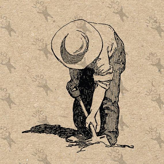 570x570 Vintage Retro Drawing Image Farmer Man Digging Instant Download