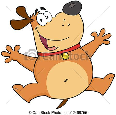 450x448 Happy Fat Dog Jumping. Happy Brown Fat Dog Jumping Clipart Vector
