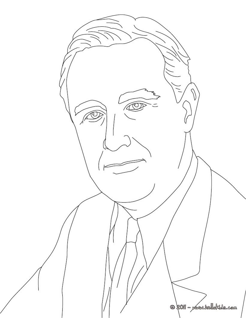 820x1060 Fdr Coloring Sheet (Older Kids Can Use Pastels To Practice