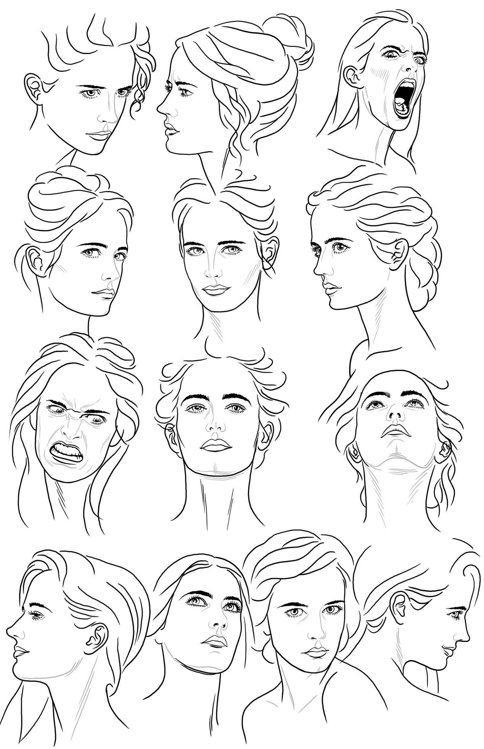 1600x2473 Female Face Drawing Reference Female Face Reference Sheet