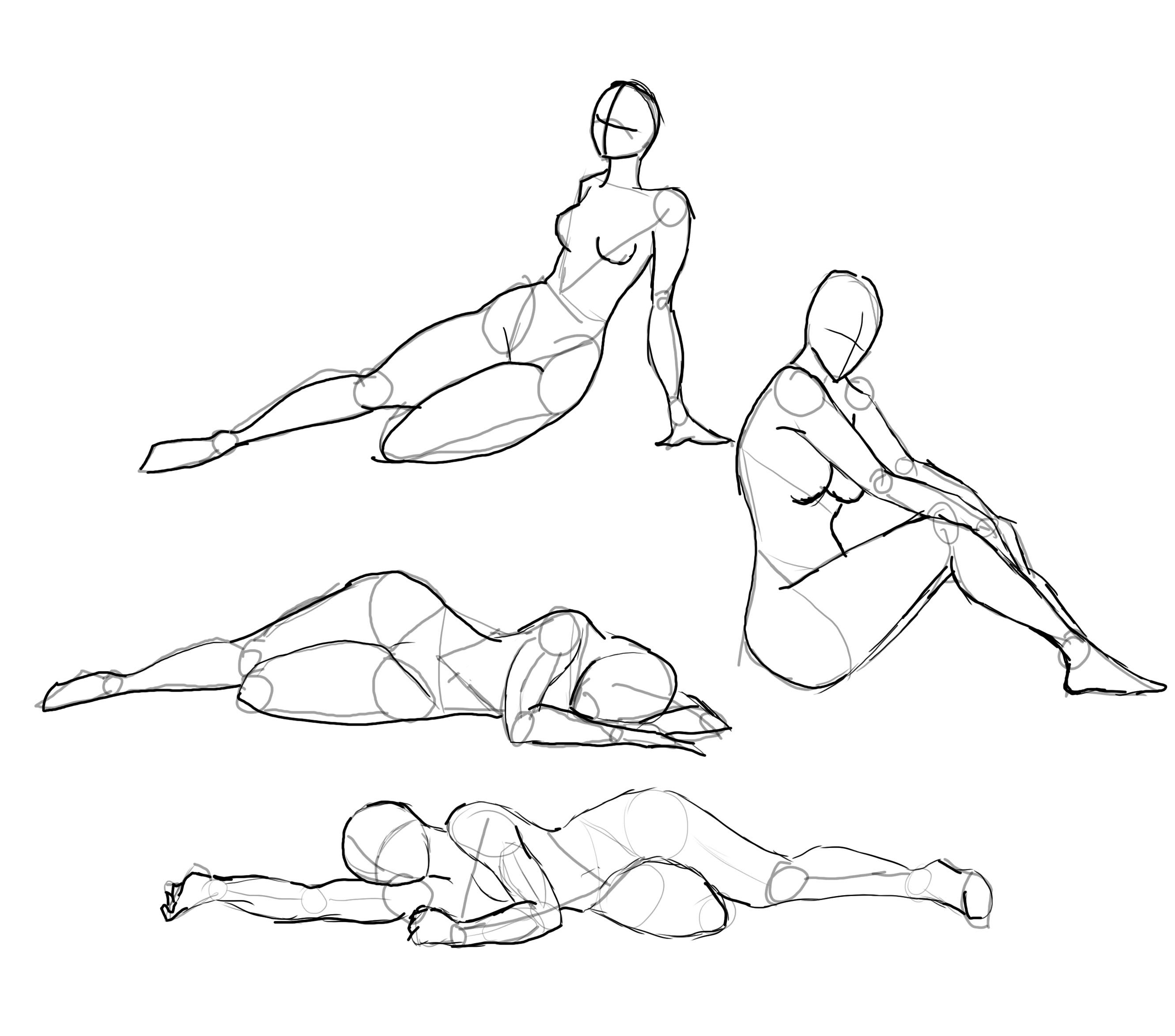 2661x2347 On The Floor' Poses Character Reference, Drawing