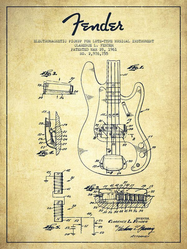 600x800 Fender Poster Featuring The Drawing Fender Guitar Patent Drawing