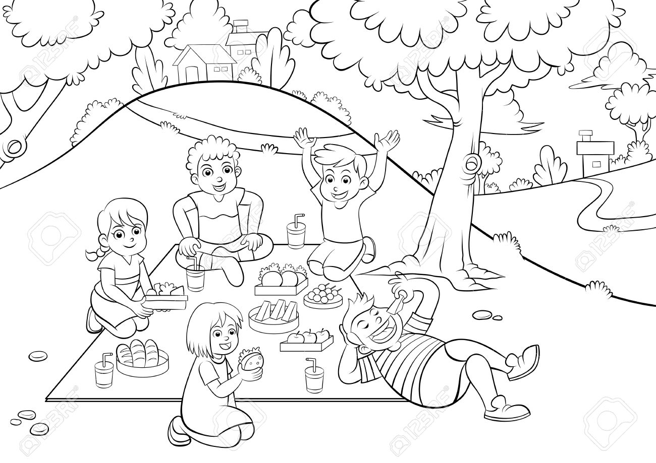 1300x919 Picnic Drawing For Kids Picnic For Colouring. Eps10 File. Royalty