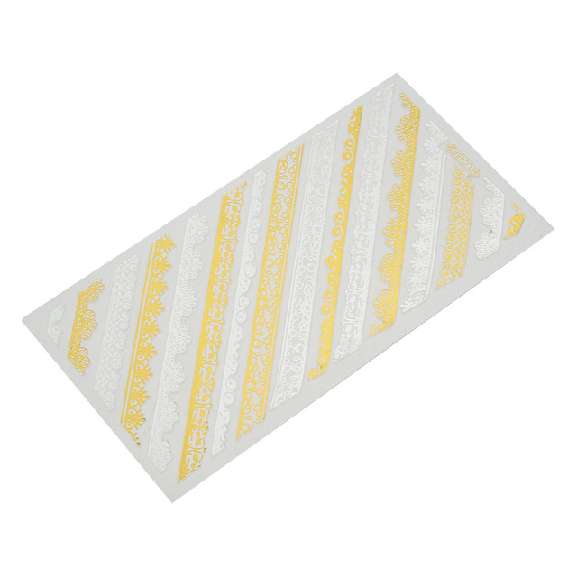 640x640 Nail Art Sticker Gold Shinning 3d Nail Stickers Transfer Lace