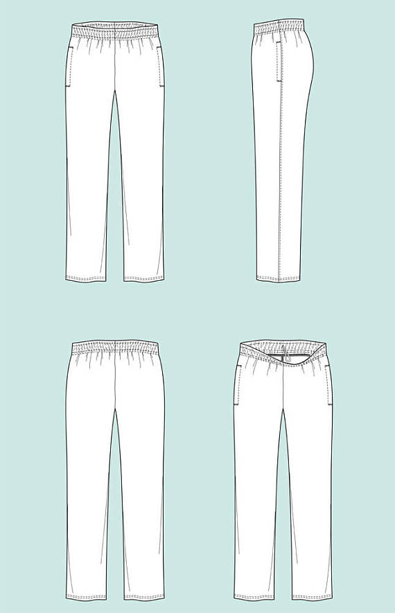 570x884 Fleece Pants Vector Fashion Flat Sketch, Adobe Illustrator Design