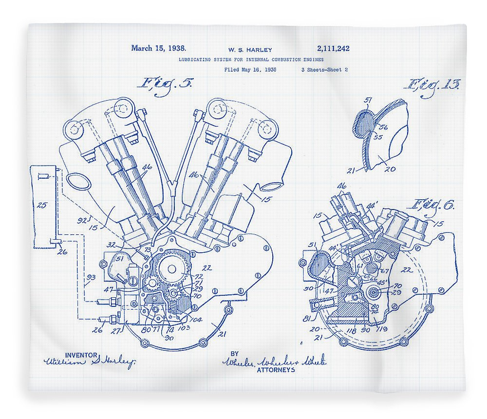 1000x860 Knucklehead Patent Drawing Fleece Blanket For Sale By Gary Grayson