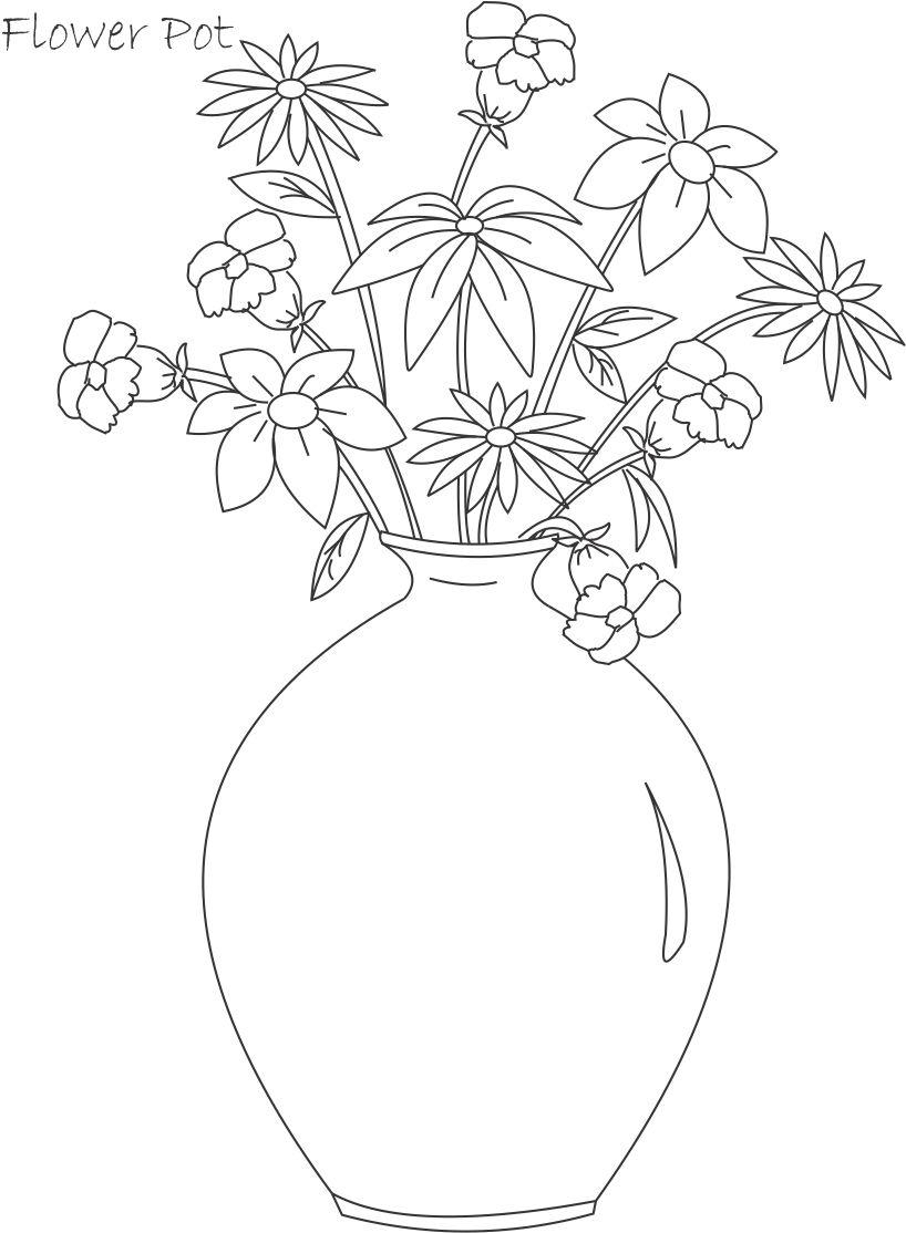 818x1114 Flower Pot Will Pot Drawings For Kids Drawing For Kids Flowers Pot