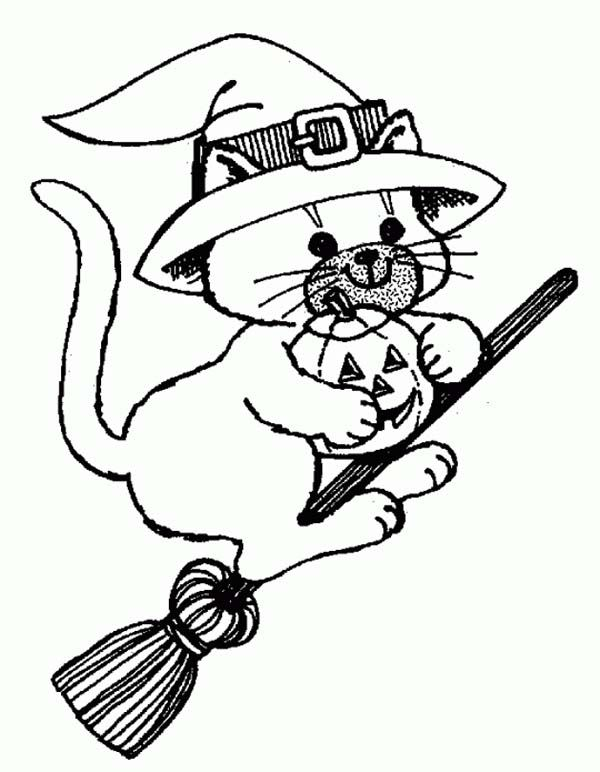 600x772 Witch Cat Riding Broomstick Coloring Page Witch Cat Riding