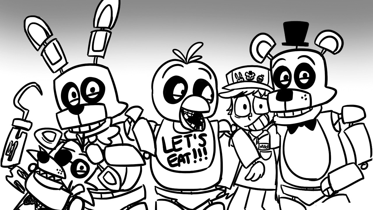 1280x719 Fnaf Coloring Pages 10 18 Five Nights At Freddy S Characters