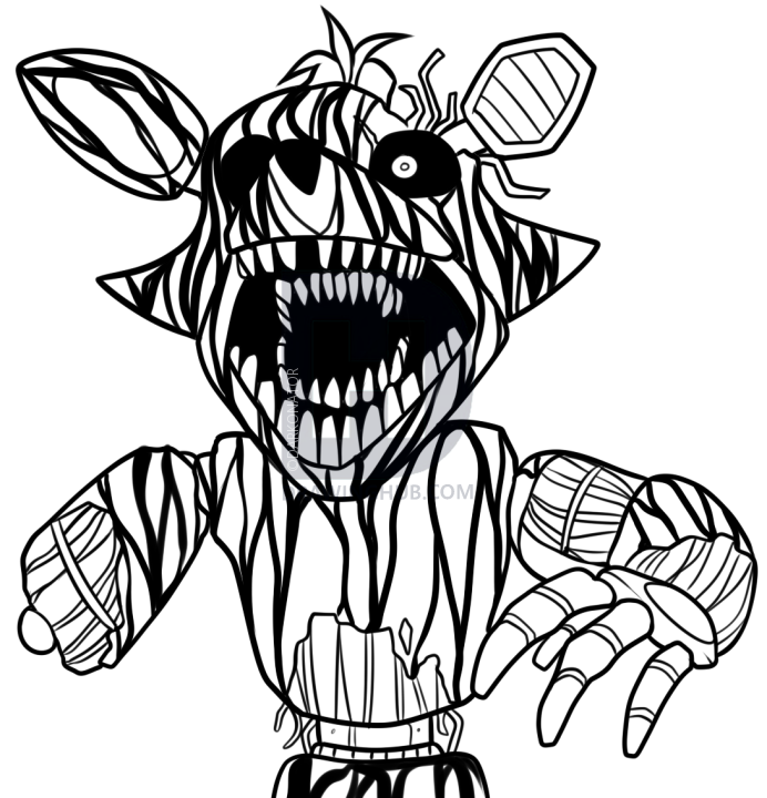 692x720 How To Draw Phantom Foxy From Five Nights At Freddys 3, Step By