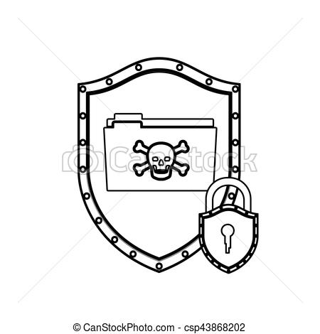 450x470 Monochrome Silhouette With Shield With Folder Virus And Vector