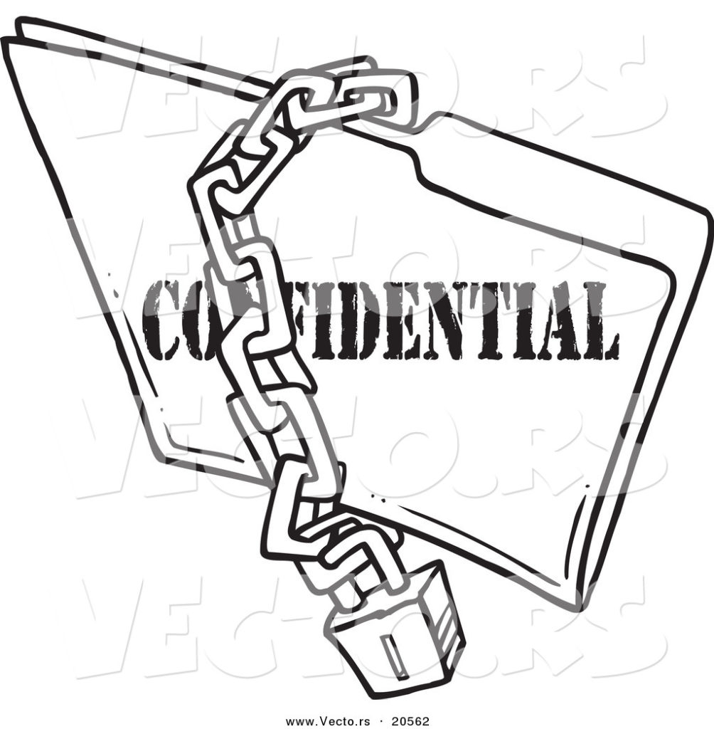 1004x1024 Vector Of A Cartoon Chain And Lock Over Confidential Folder