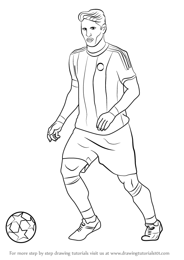 598x844 Collection Of Football Player Drawing Step By Step High
